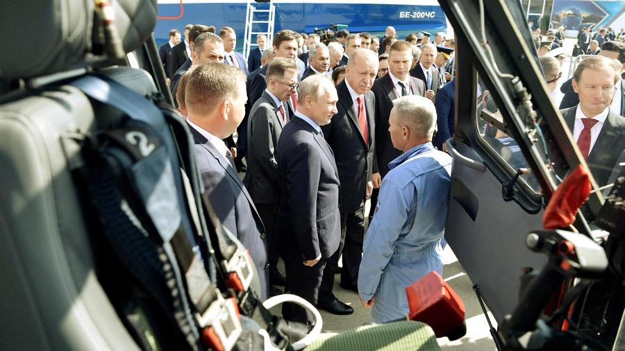 Реджеп Эрдоган и Владимир Путин на МАКС-2019.