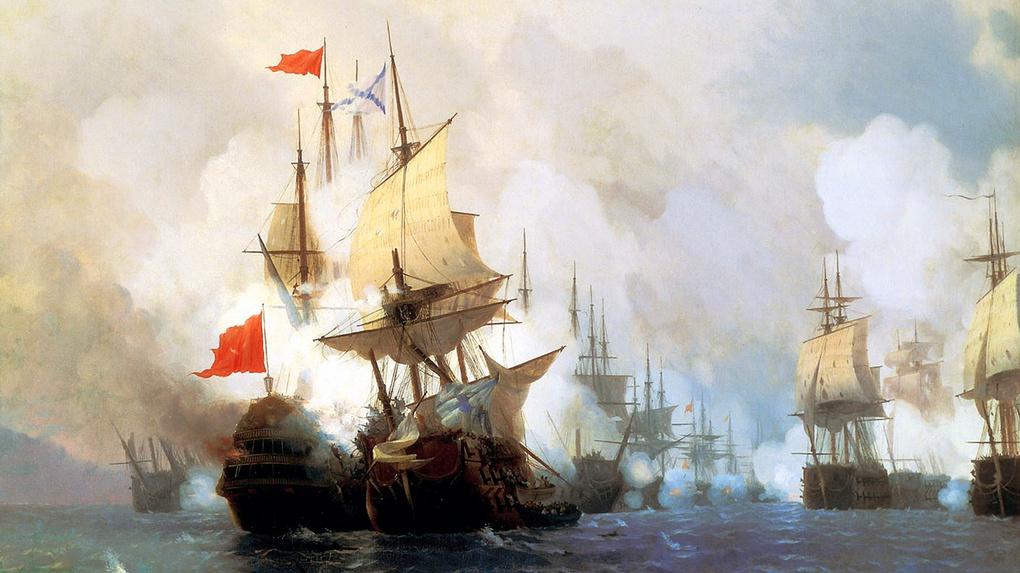 Айвазовский И. «Хиосское сражение» - изображено столкновение «Святого Евстафия» и «Бурдж-у-Зафера».
