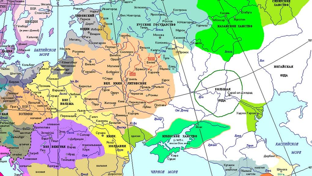 Карта центральной и восточной Европы к началу 1500 г.