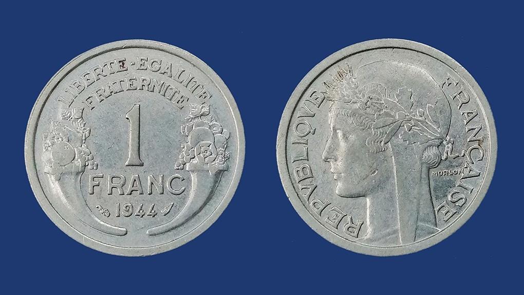 Монеты номиналом в 1 франк оккупированной Франции и фашистского режима Виши. Алюминий. 1944 год.