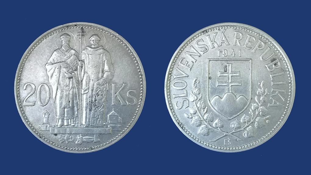 20 словацких крон. Низкопробное серебро. 1941 год.