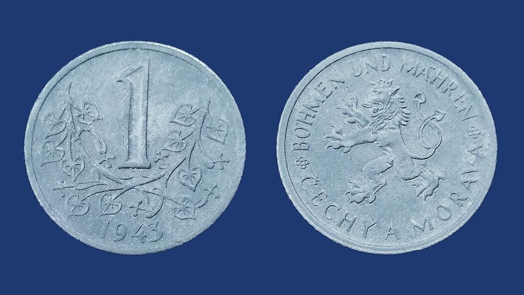 1 цинковая крона протектората Моравии и Чехии. 1943 год.