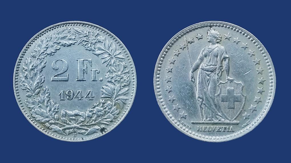 2 швейцарских франка. Серебро. 1944 год.