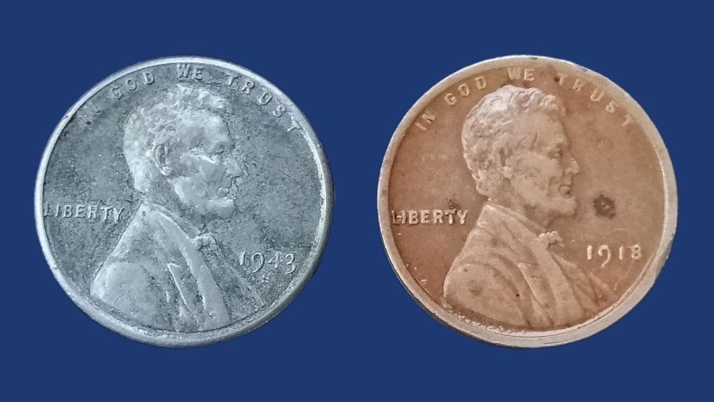 Американские центы. Медь. 1918 год. Никель. 1943 год.