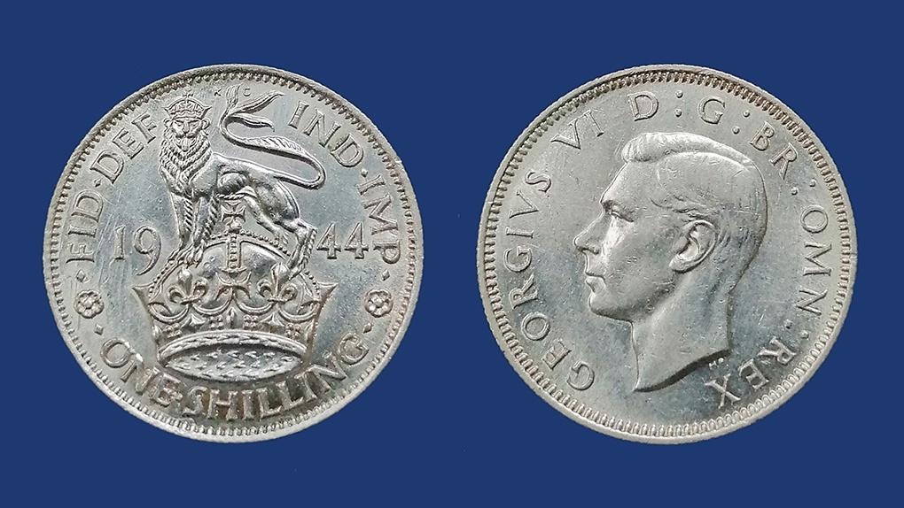 1 шиллинг Великобритании. Серебро. 1943 год.