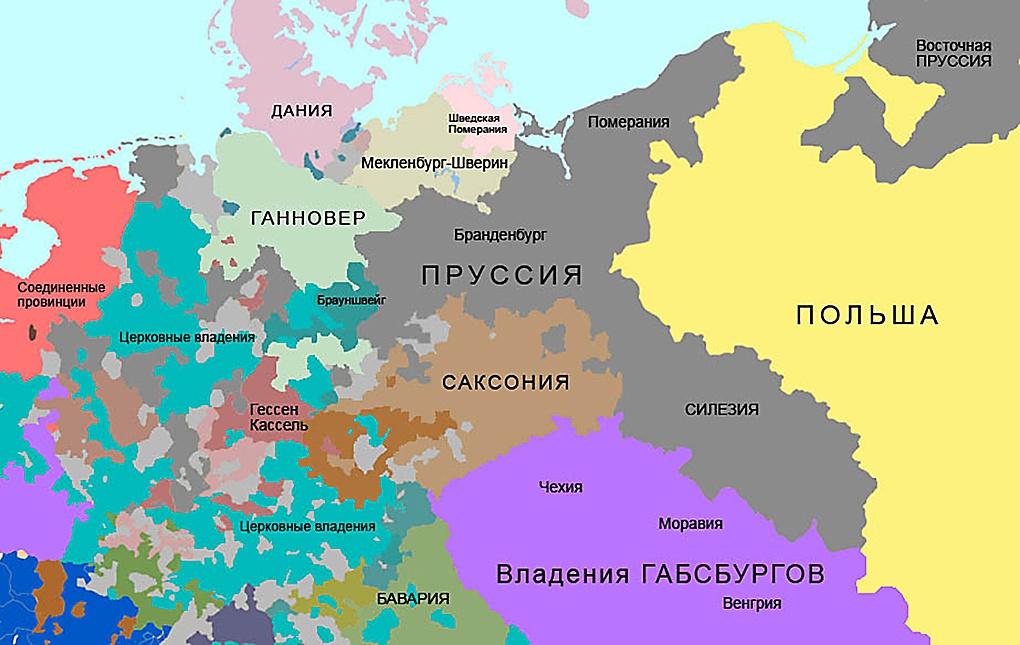 Королевство Пруссия к началу Семилетней войны (1756 г.).