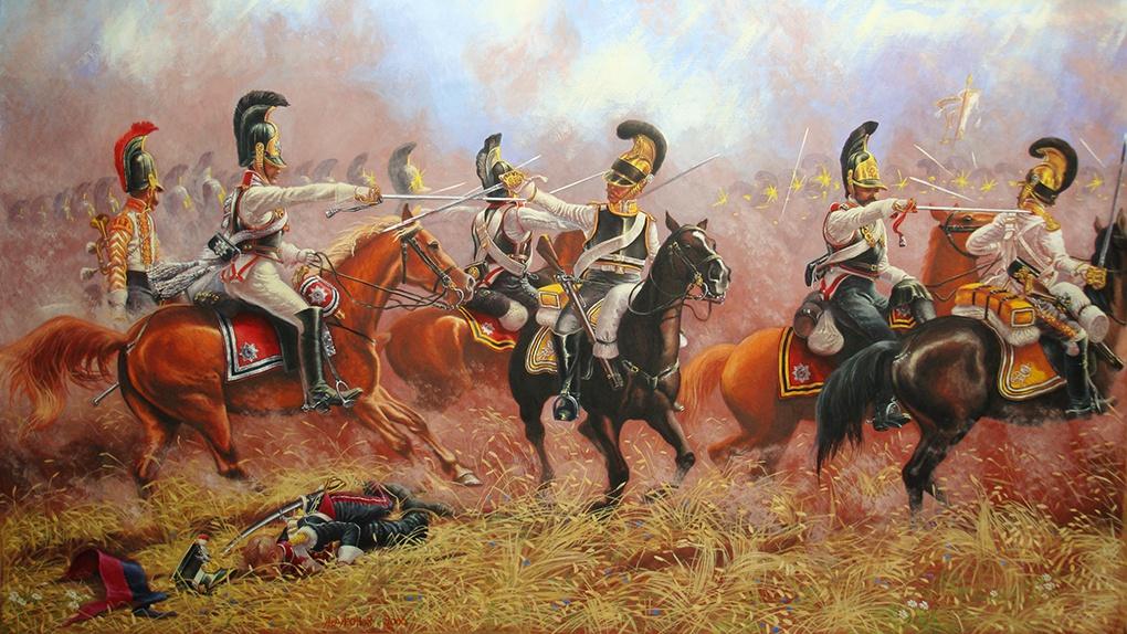 Под Бородино, русские кавалергарды против саксонских кирасиров.