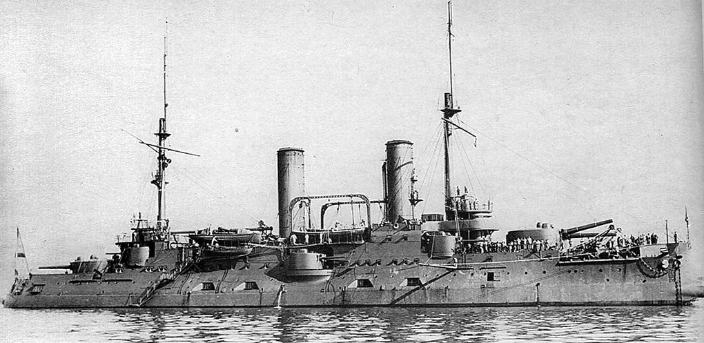 Броненосец «Цесаревич» самый сильный корабль Тихоокеанской эскадры.