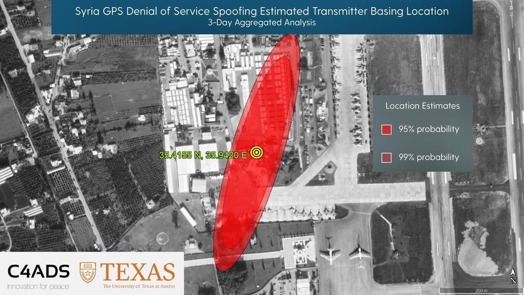Источник GPS-спуфинга на авиабазе Хмеймим по версии Центра перспективных оборонных исследований США.