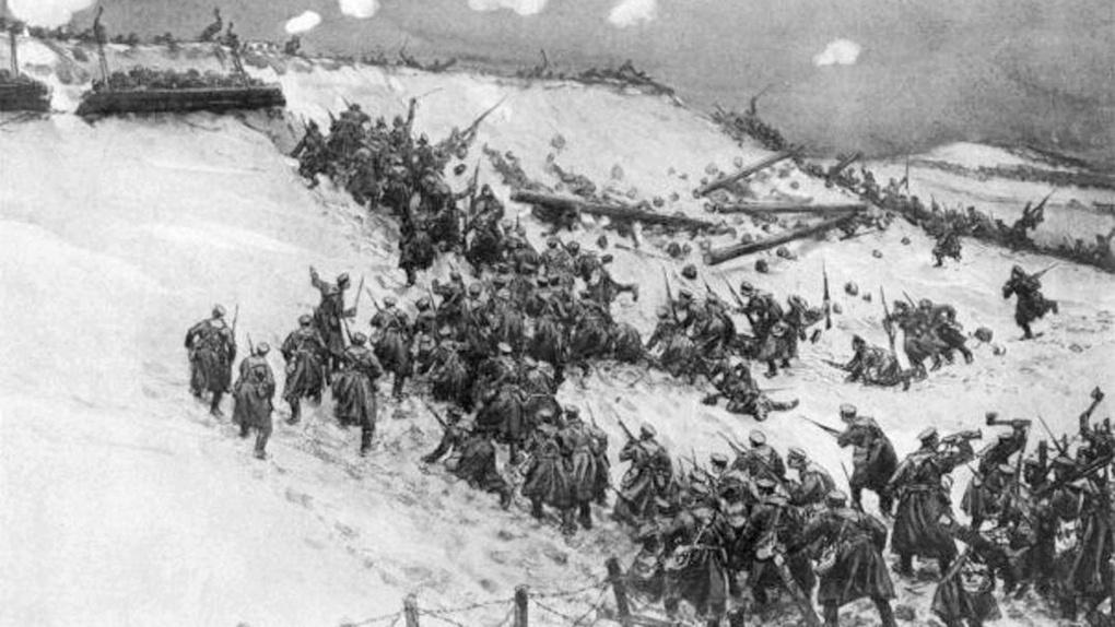 Русские солдаты штурмуют укрепления Эрзурума.