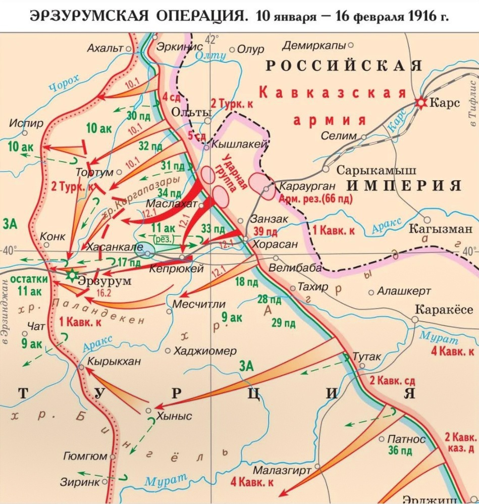 Карта Эрзурумской операции.