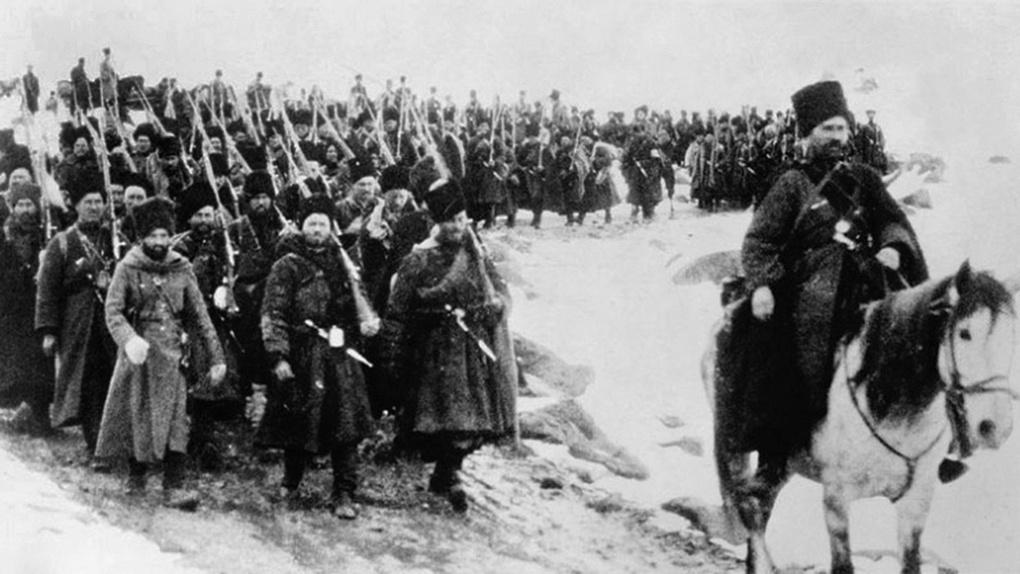 Русские войска на марше к Эрзуруму.