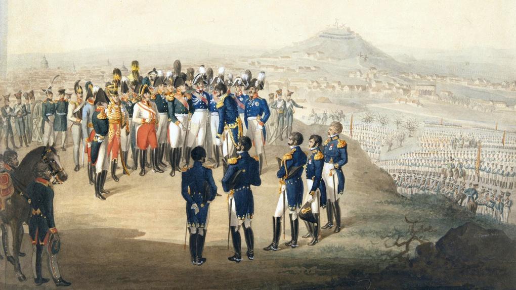 Александр I принимает капитуляцию Парижа от маршала Огюста Мармона.