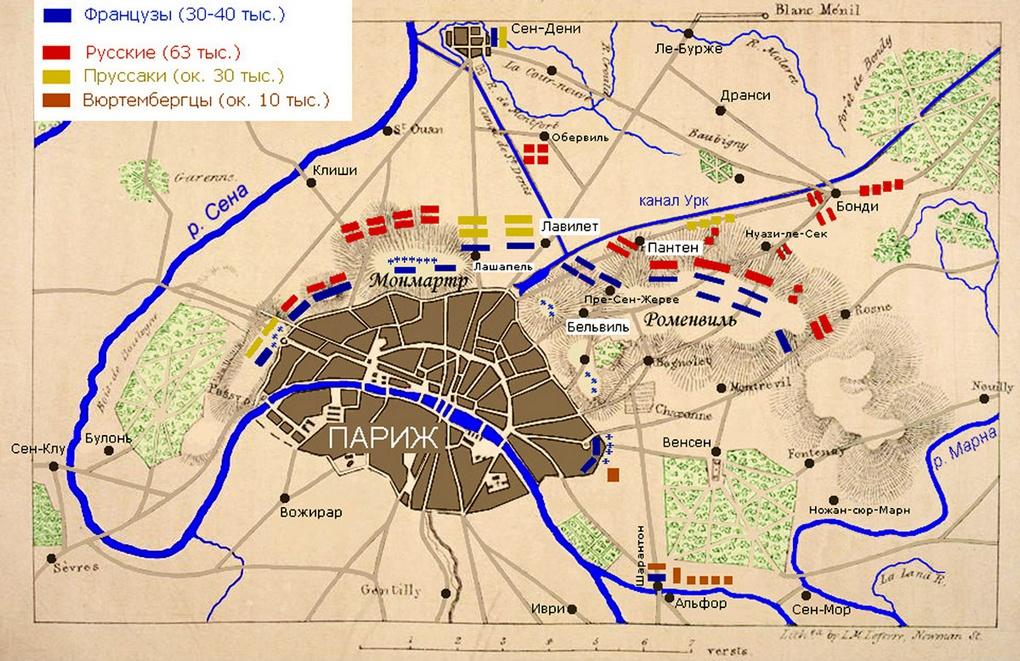 Расположение войск перед началом штурма Парижа.