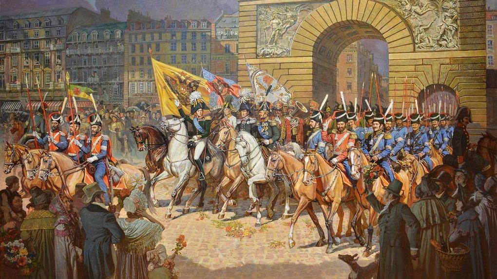 Александр I триумфально въезжает в Париж во главе русских войск.