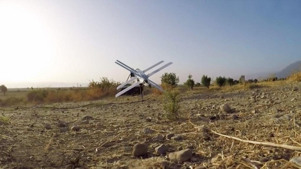Беспилотник-«камикадзе» «Ланцет-3» перед взлетом.