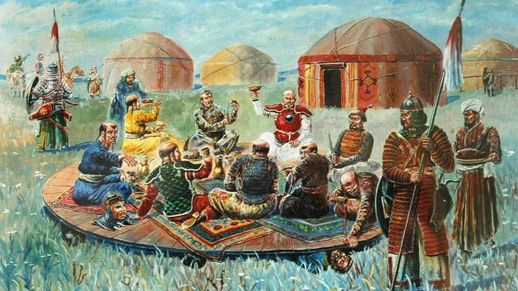 Монголы пируют на телах русских князей.