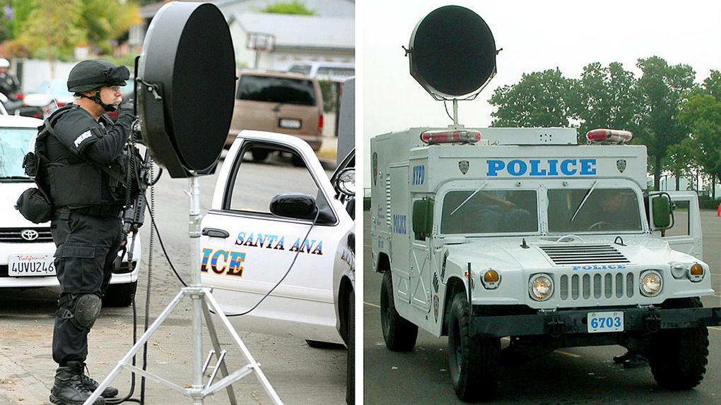 Полицейская машина с системой LRAD.