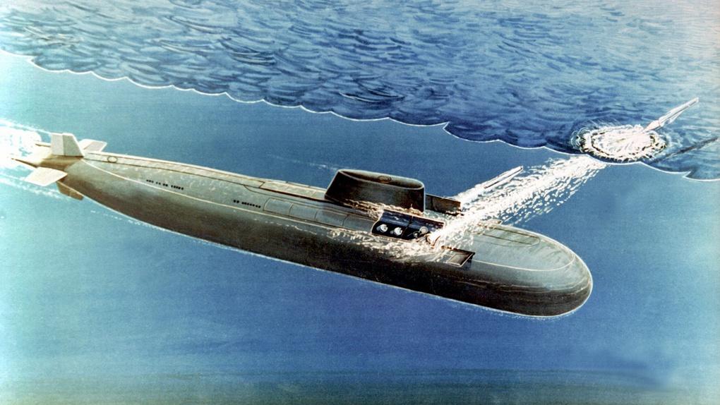 Концептуальный рисунок пуска в залпе двух крылатых ракет «Гранит» из-под воды с обоих бортов АПЛ проекта 949А.