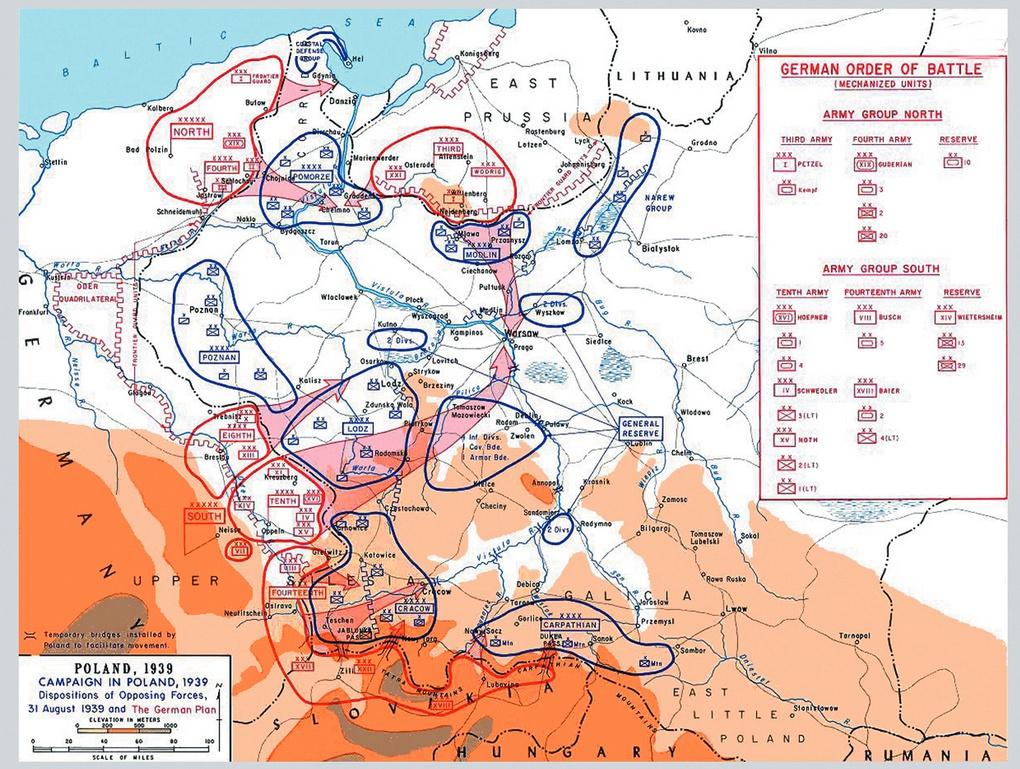 Карта польской кампании 1939 года. Синим цветом обозначены германские войска, красным - словацкие.