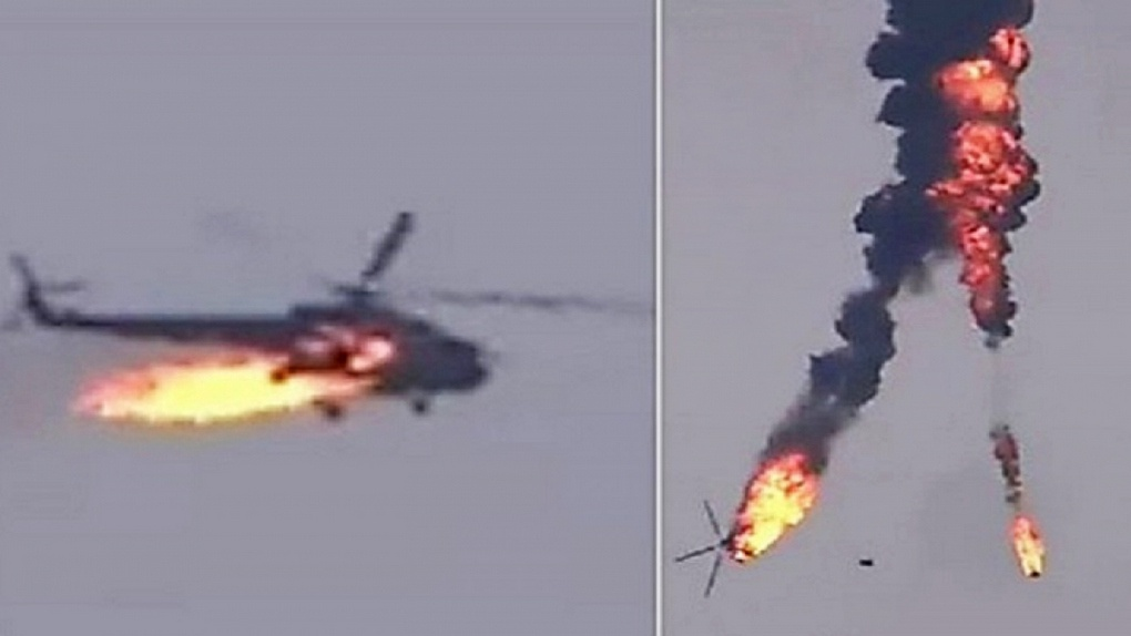 Сбитый российский вертолет в Карабахе.