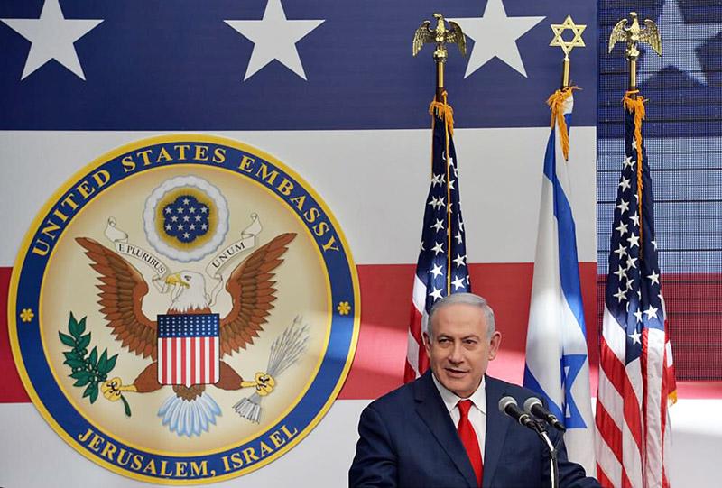 Биньямин Нетаньяху на открытии посольства США в Иерусалиме.
