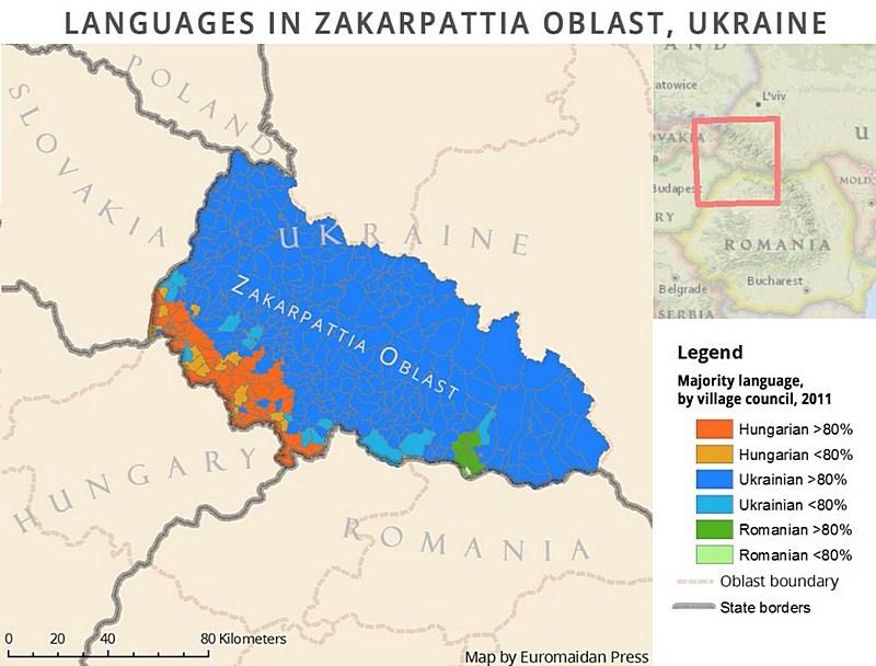 Карта преобладающих среди населения языков в Закарпатье.