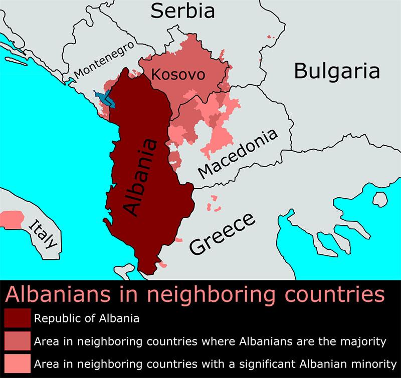 Карта проживания албанцев на Балканах.