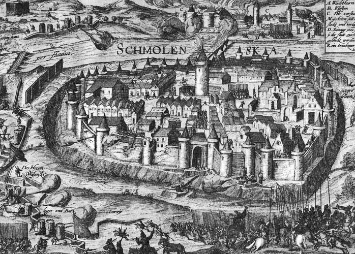 Гравюра осады Смоленска 17 века.