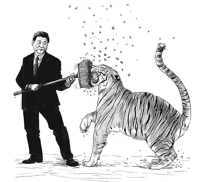 Видение китайским художником борьбы с коррупцией в стране.