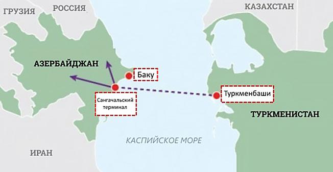 Карта Транскаспийского газопровода.