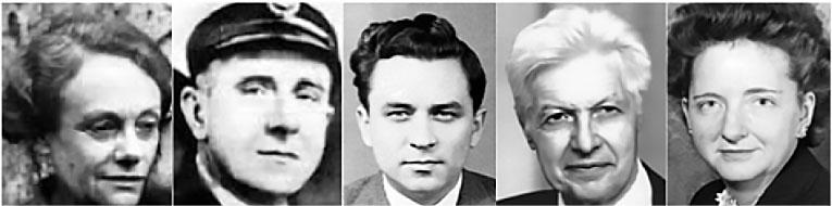 Портсмутская пятерка: Этель Джи, Гарри Хаутон, Гордон Лонсдейл, Моррис и Леонтина Коэн.