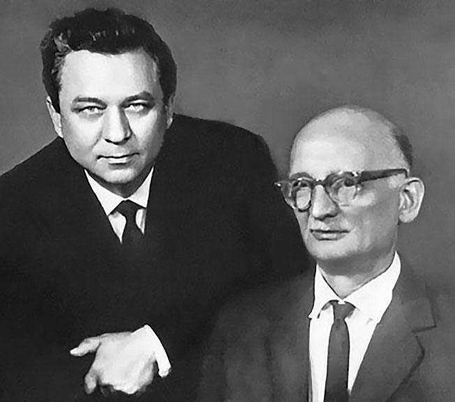 Молодый со своим учителем Рудольфом Абелем.
