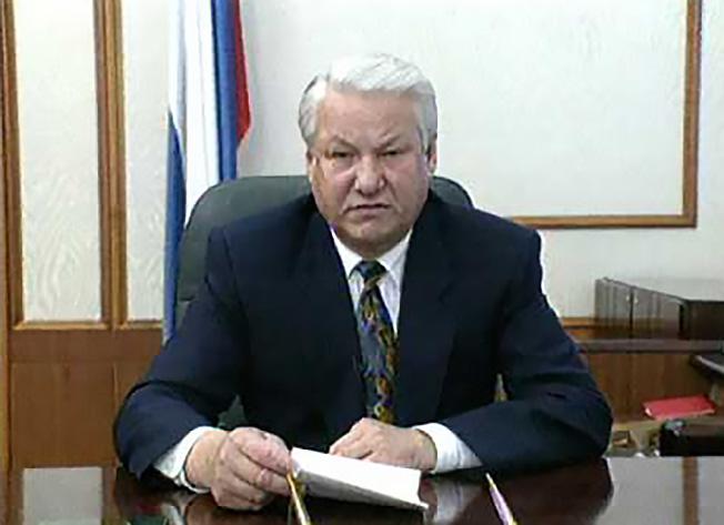 Выступление Б.Ельцина о роспуске Верховного Совета по телевидению.