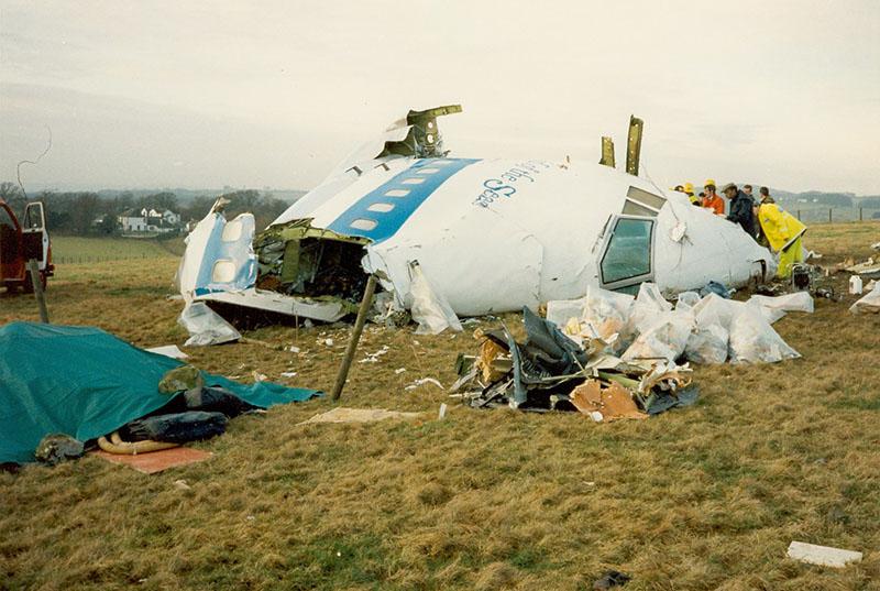 Обломки пассажирского Боинга-747, взорванного над Локерби.