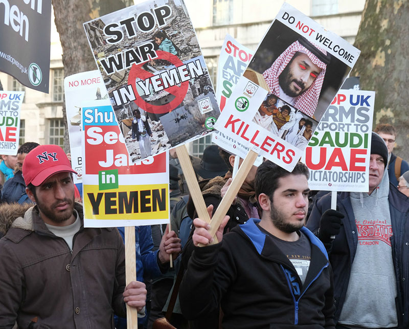Протесты против продолжающейся войны в Йемене.