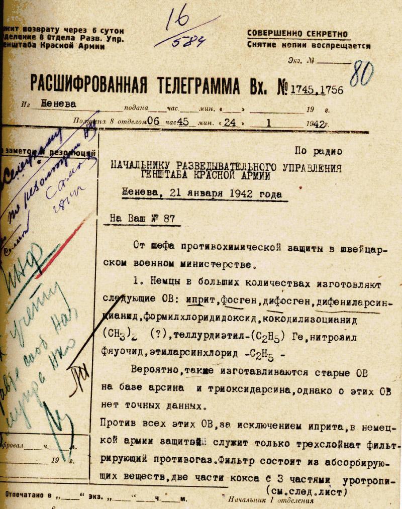 Расшифровка телеграммы Шандора Радо.