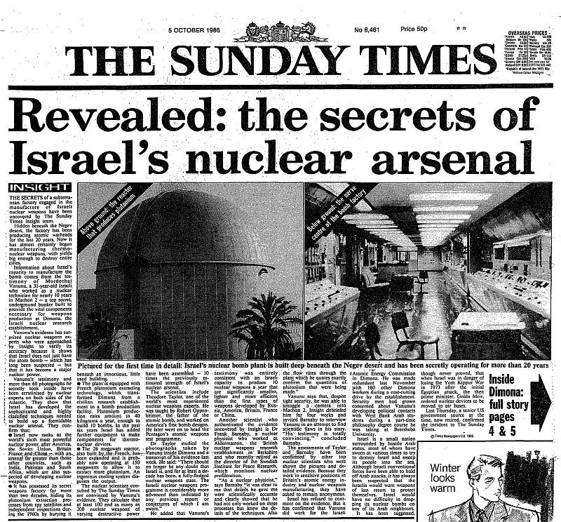 Сенсационная статья Вануну о сверхсекретном заводе по производству ядерного оружия в Израиле вышла в газете Sunday Times.