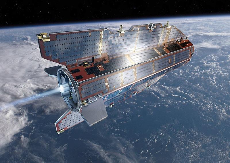Европейский спутник GOCE над Антарктидой.
