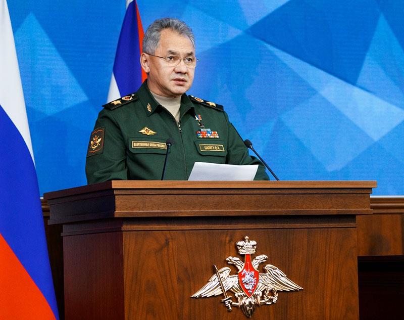 Министр обороны генерал армии Сергей Шойгу на заседании Коллегии Минобороны.