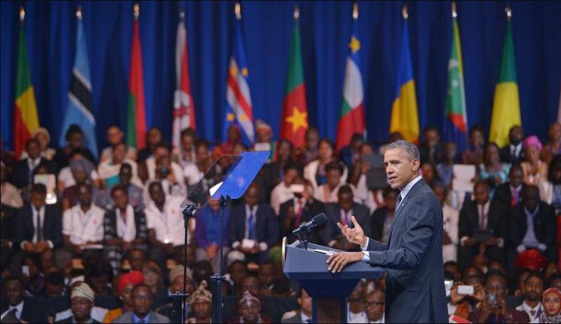 Президент Барак Обама выступает на саммите США - Африка.