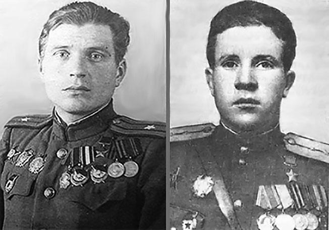 Герои Советского Союза Борис Емельянов (слева) и Михаил Гурьев.