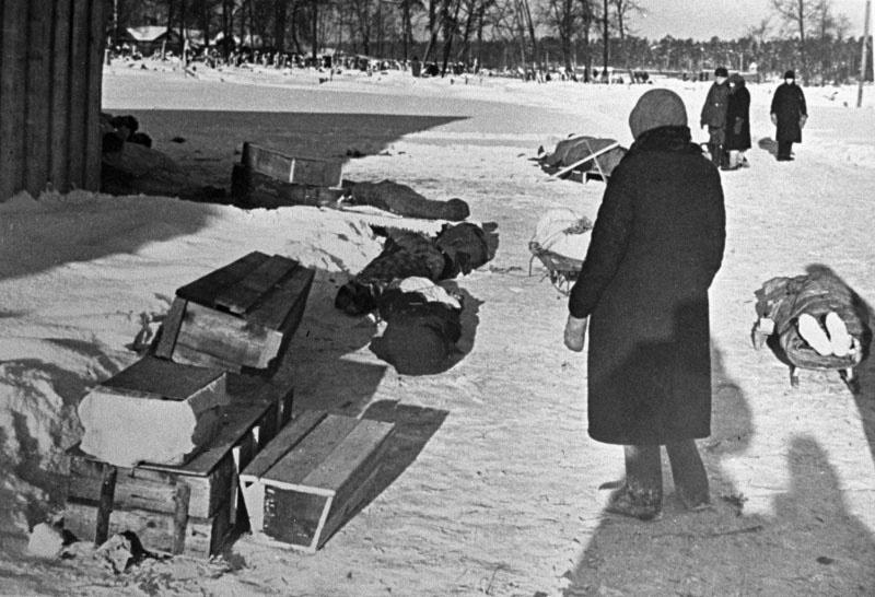 Родственники свозят умерших на кладбище во время блокады.