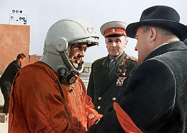 Последние напутствия главного конструктора Сергея Павловича Королева Юрию Гагарину перед стартом.