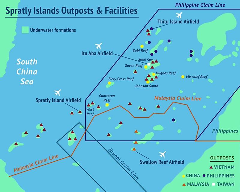 Архипелаг Спратли, который частично занимают Китай, Филиппины, Вьетнам, Тайвань и Малайзия.