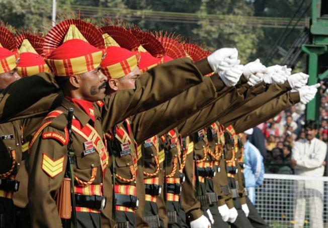 Военный парад в Нью-Дели по случаю национального праздника Индии - Дня республики.