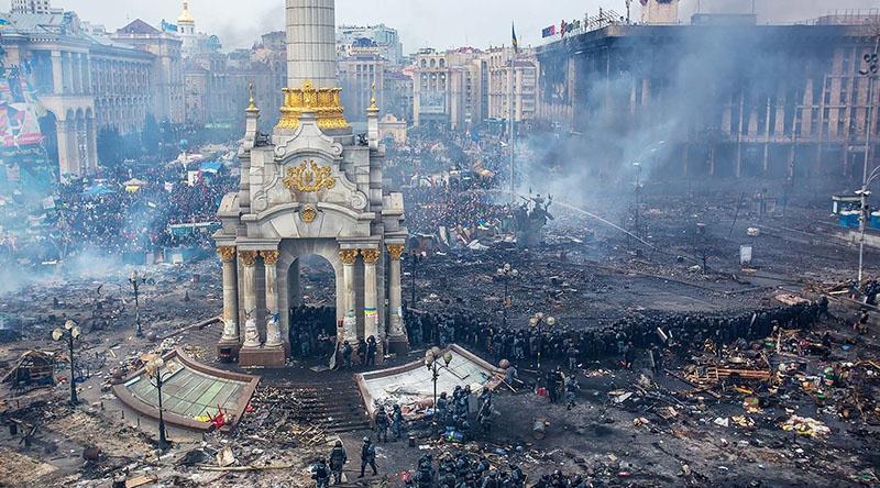 Киев пылает после майдана.