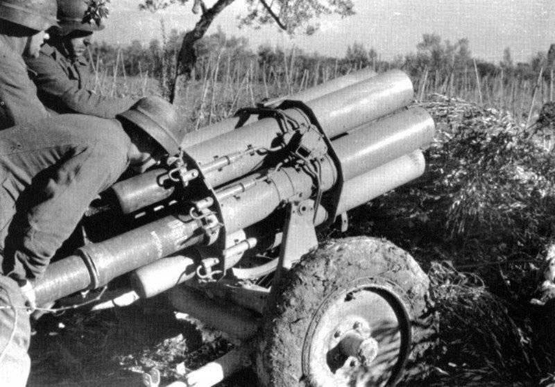 Немцы применили шестиствольные минометы против десантников.