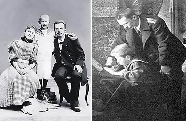 Петр Шмидт с женой и сыном.