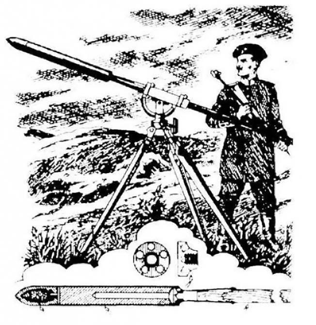 Русская ракетная установка середины XIX века.